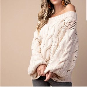 Tops - Oversized cable knit puffy sleeve sweater ivory